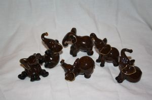 Set of 6 Miniature  African Elephants Ornaments now with free P&P!